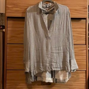 Free People Blue And White Stripe Shirt